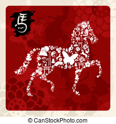 Chinese New Year of the Horse greeting card - Zodiac 2014...