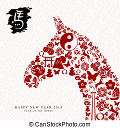 Chinese new year of the Horse composition vector file.