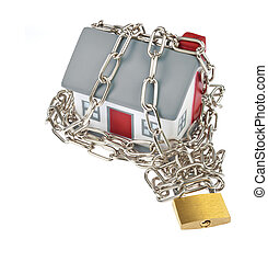 House model plastic with chain and padlock for security...