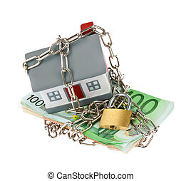 House with bills, chain and padlock - House model toy...