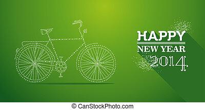Feliz, Novo, ano, 2014, cartão postal, vetorial,...