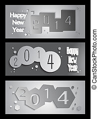 Happy New Year 2014 creative banner illustration