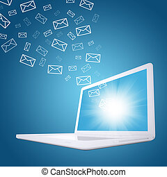 Emails fly out of laptop screen. The concept of e-mailing