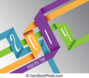 Happy New Year 2014 colorful origami illustration - Happy...