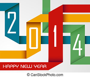 Happy New Year 2014 colorful ribbons - Happy new year 2014...