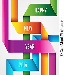 Happy New Year 2014 ribbon background