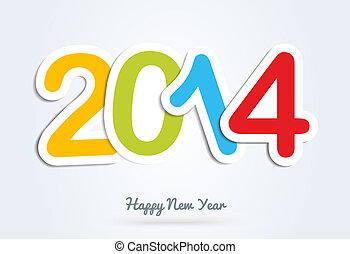 año, saludo,  multicolor, nuevo,  2014, tarjeta, feliz