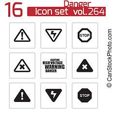 Vector black danger icons set on white background