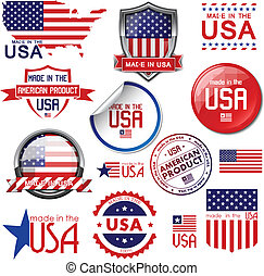 Made in the USA. Vector graphic ico - Made in the USA. Set...