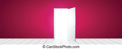 Vector Open Door - White open door with pink wall. Vector...