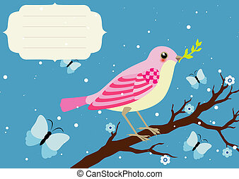 Background with blooming tree branch and bird - Background...