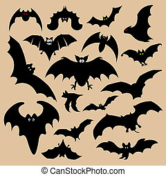 Bat silhouettes - selection of bat silhouettes on a brown...