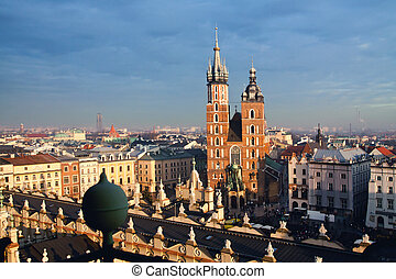 St Marys church in Krakow - St Marys church and Sukiennice...