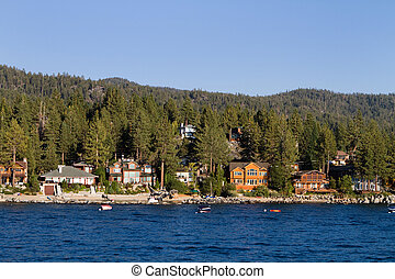 Lake Tahoe Waterfront Homes - Waterfront homes among the...