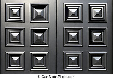 Black door panel - Black door wood panel with square details