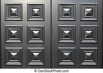 Black door panel - Black door wood panel with square details