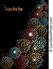 Happy new year 2014 fireworks background