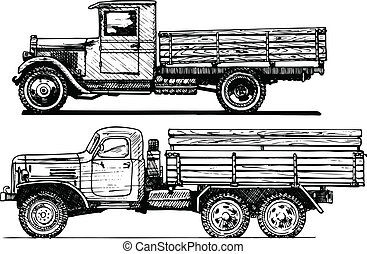 two vintage car. - Vector drawing of retro lorry stylized as...