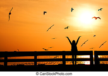 silhouette of happy woman with birds on bridge in sunset