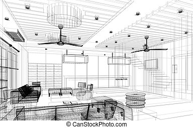 sketch design of lobby