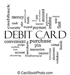 Debit Card Word Cloud Concept in black and white