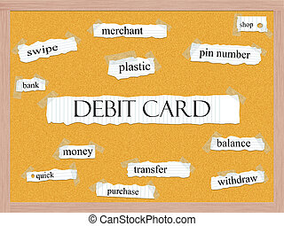 Debit Card Corkboard Word Concept with great terms such as...
