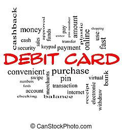 Debit Card Word Cloud Concept in red caps