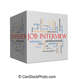 Job Interview Word Cloud Concept on a Cube - Job Interview...