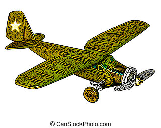 Windup Army Plane - Toy windup Army plane