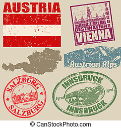 Set of grunge stamps with Austria on vintage background,...