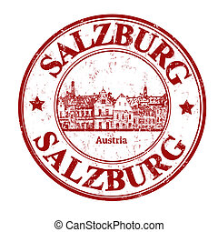 Salzburg stamp - Red grunge rubber stamp with the name of...
