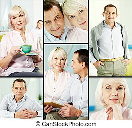 Mature couple - Mature man and his wife in casual clothes...