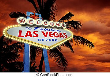 Welcome in Vegas. Las Vegas Entrance Sign, Palms and Sunset....
