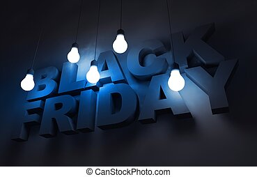 Black Friday Theme. Black Friday Dark Blue 3D Concept...