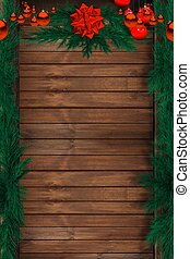Wood Holiday Background with Christmas Ornaments. Spruce Fir...