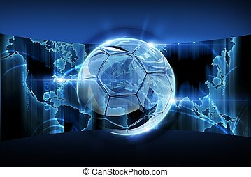World Football Concept with Blue Glowing World Map and...