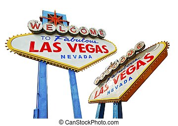 Vegas Sign Isolated - Las Vegas Signs Isolated on White...