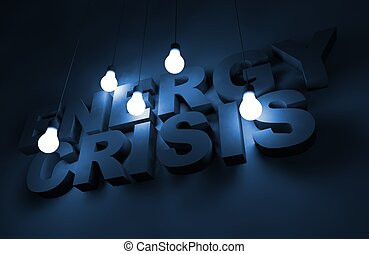 Energy Crisis Concept Illustration with Glowing Bulbs.