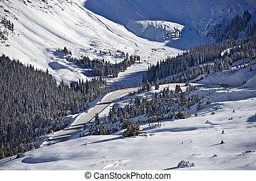 山, 冬, 風景
