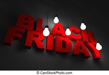Black Friday Concept. 3D Illustration with 3D Letters and...