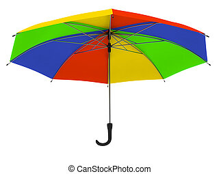 Colored umbrella - One colored umbrella isolated on white...