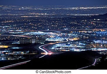 Denver Metro at Night - Denver Metro Area at Night. Golden...