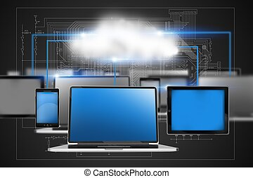Cloud Technology Concept Illustration with Laptop Computers,...