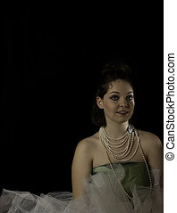 Young woman wearing pearls - young woman wearing pearls...