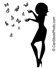 Woman silhouette with butterflies - Beautiful young woman...