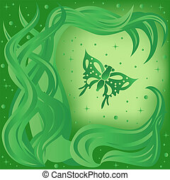 Phantasmagoric composition with butterfly and plants on...