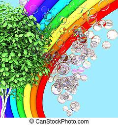 Rainbow, tree and soap bubbles