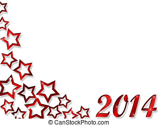 Happy New Year 2014 with red stars and numbers