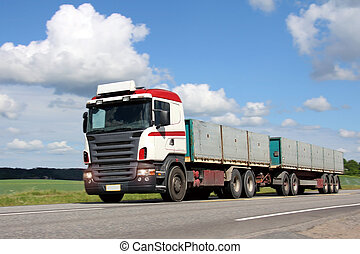Long Hauling Truck on the Road - Full trailer long haulage...