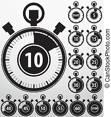 Analog timer icons set, vector illustration